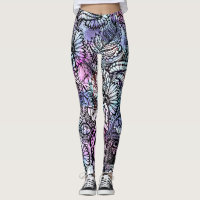 Watercolor floral pattern leggings