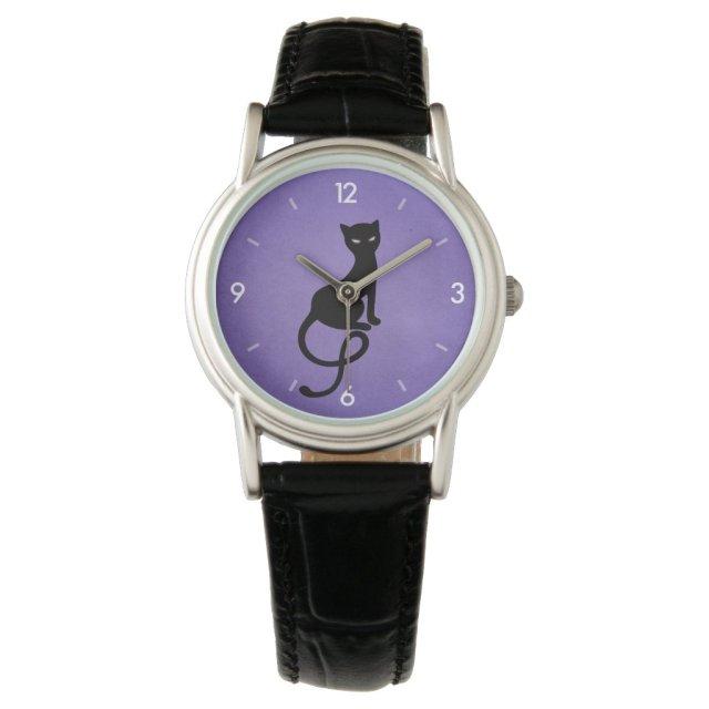 Purple Gracious Evil Black Cat Watch