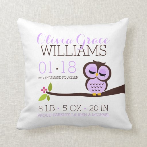 Owl Baby Birth Announcement Cushion