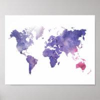 Purple Watercolor World Map Poster