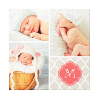Quatrefoil Monogram Baby Photo Collage Nursery Art Canvas Print