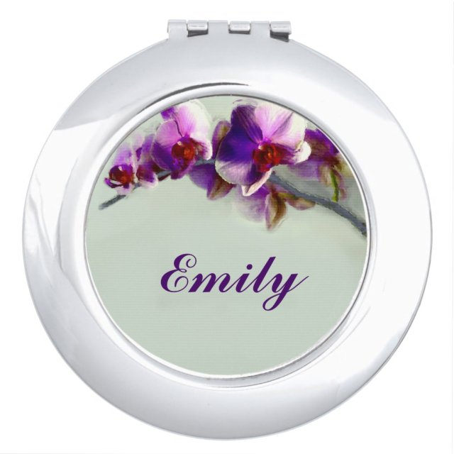 Flower Personalised Compact Mirror