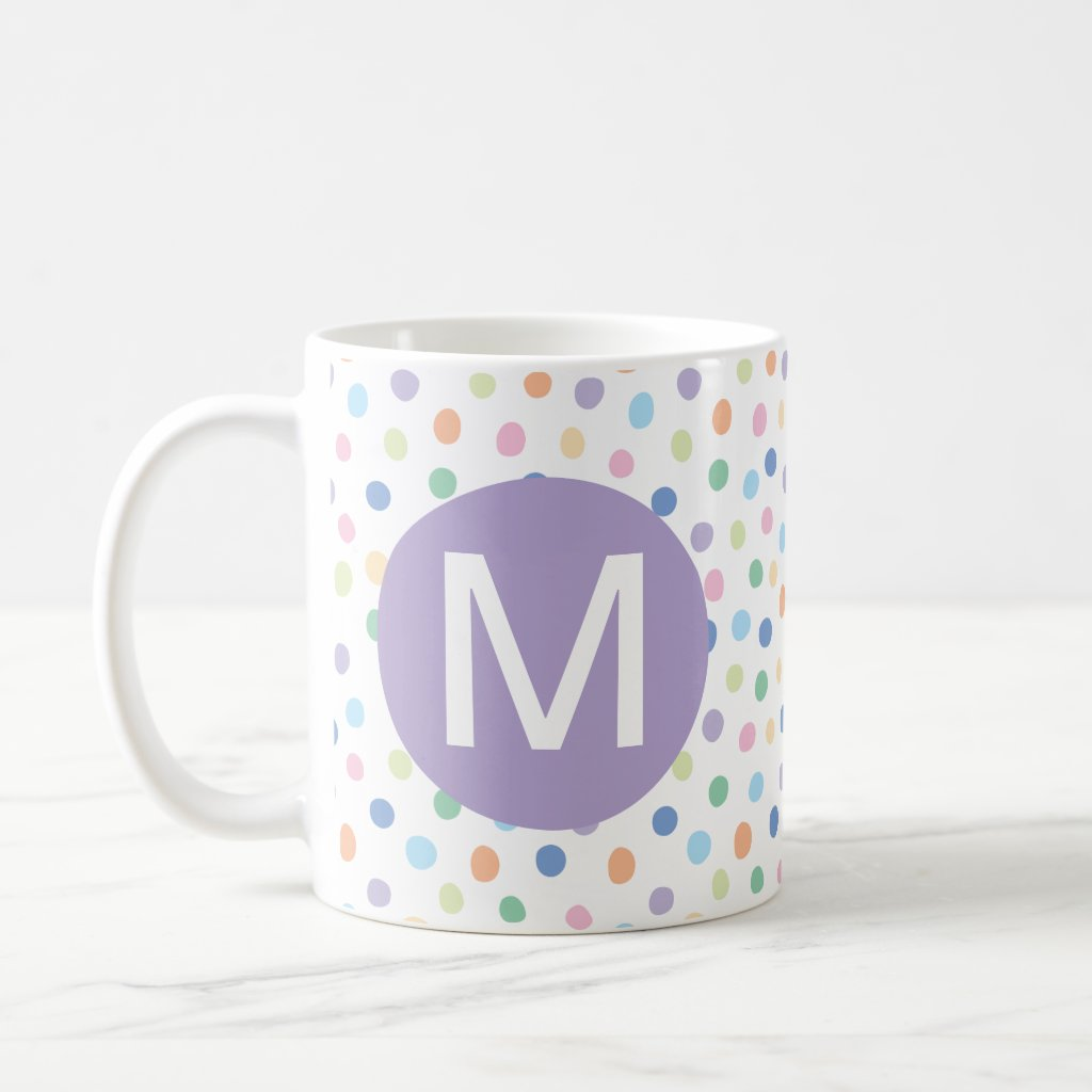 Rainbow Dots Purple Monogram Initial Letter Mug