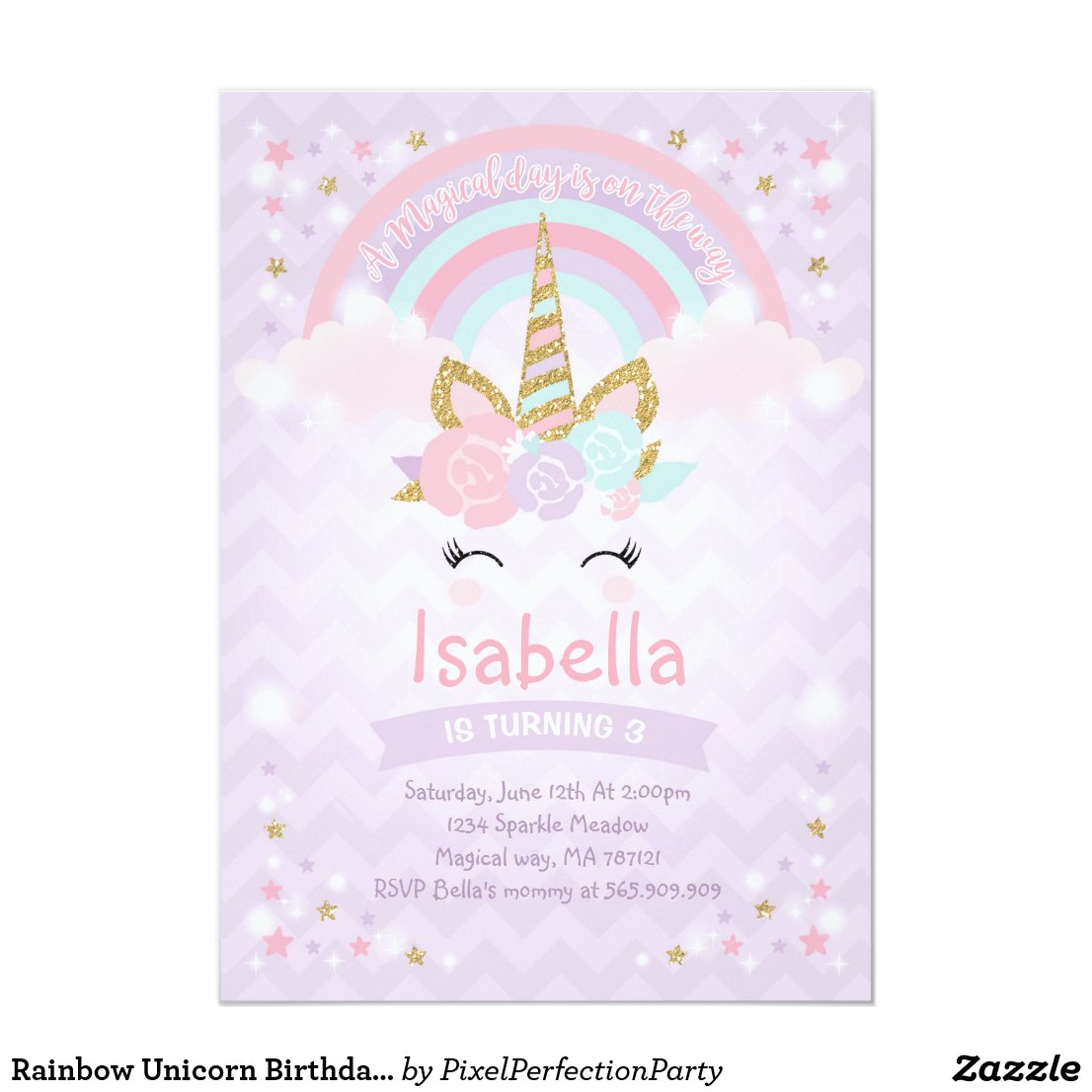 Rainbow Unicorn Birthday Invitation