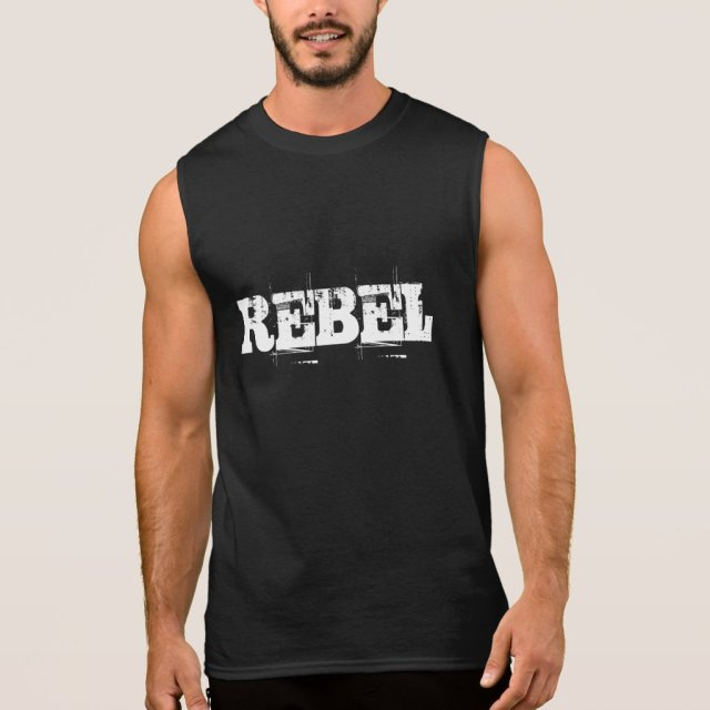 REBEL sleeveless typography tank top for men
