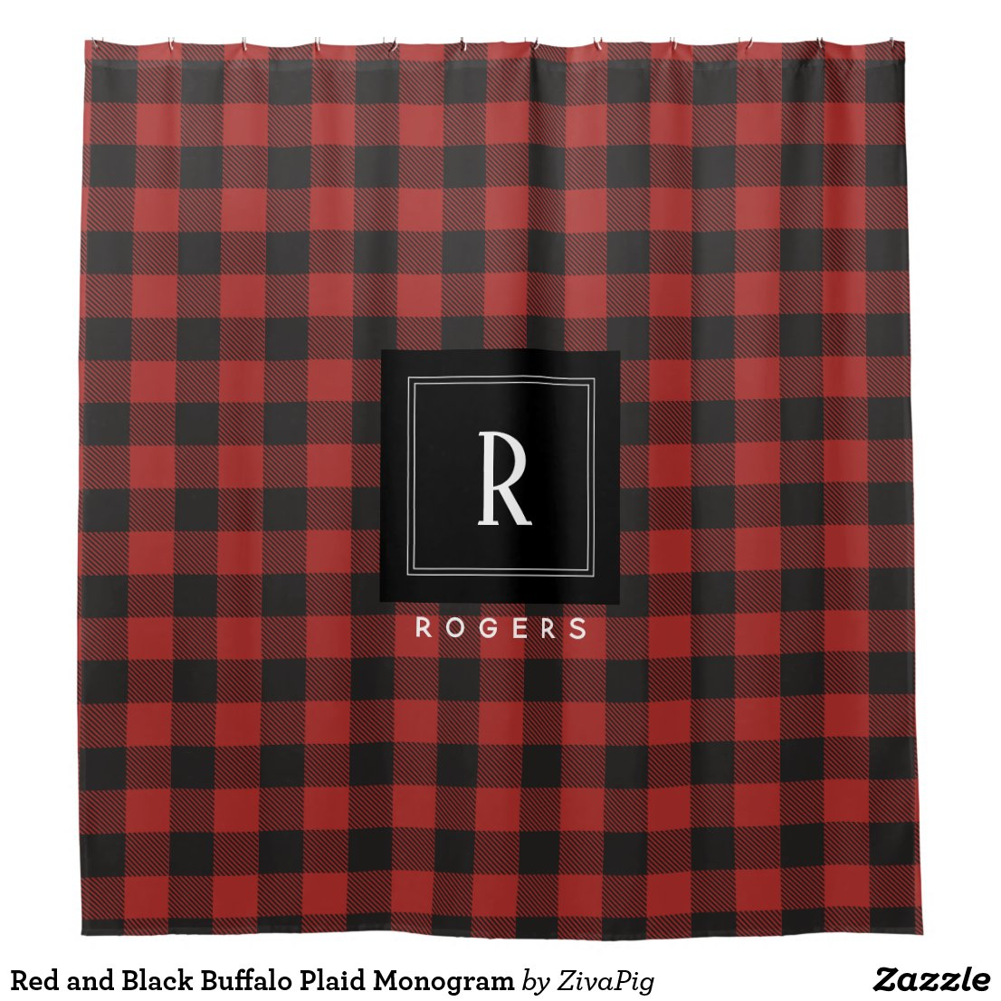 Plaid Monogram Shower Curtain