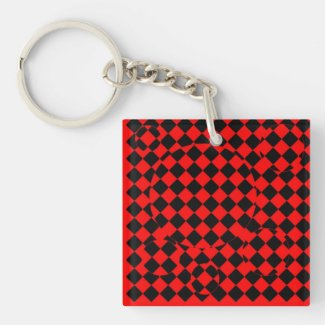 Red and black checker board optical illusions key