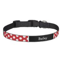 Red and Black Polka Dots Monogram Dog Collar
