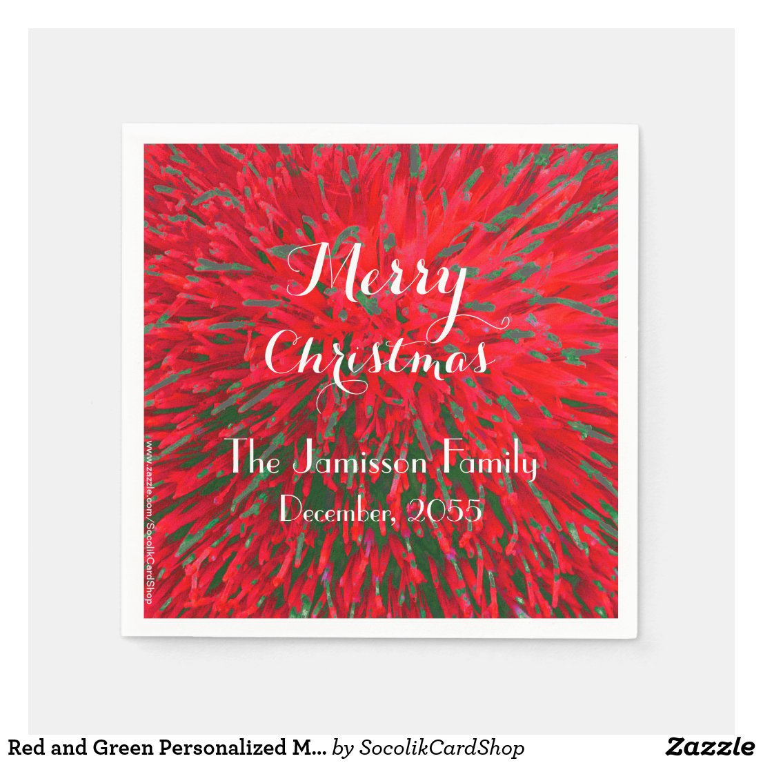 Red and Green Personalised Merry Christmas Party Disposable Napkin