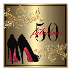 Red Dancing Shoes - Fabulous 50th Birthday Card