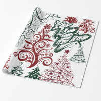 Red Green Holiday Christmas Tree Pattern Wrapping Paper