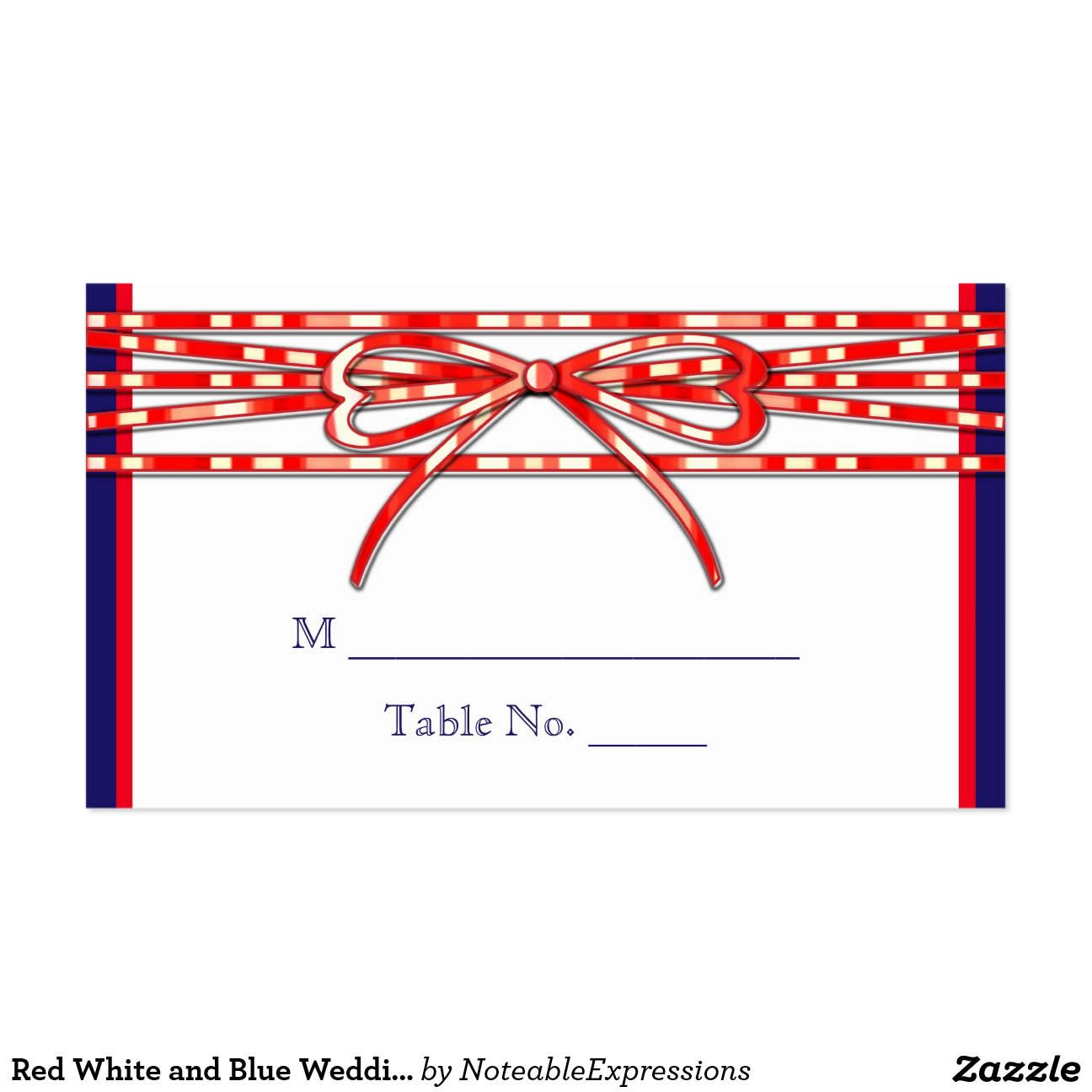 Red White And Blue Wedding Place Cards Pack Of Standard