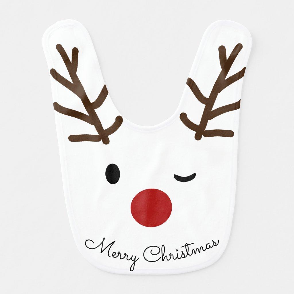 Reindeer Winking Baby Bib