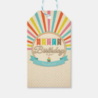 Retro Happy Birthday Gift Tags