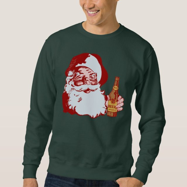Retro Santa Claus with a Beer Christmas