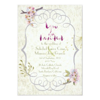 Romantic Garden Plum Calligraphy Script Wedding 5x7 Paper Invitation Card