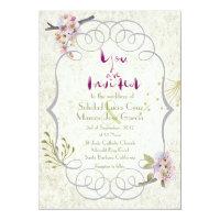 Romantic Garden Plum Calligraphy Script Wedding 5x7 Paper Invitation Card