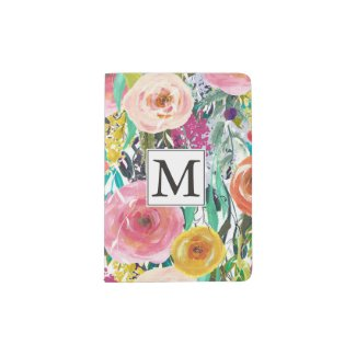 Romantic Garden Watercolor Flowers Monogram