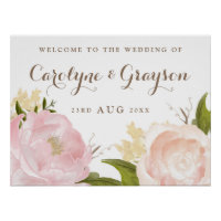 Watercolor Flowers Welcome Sign Poster