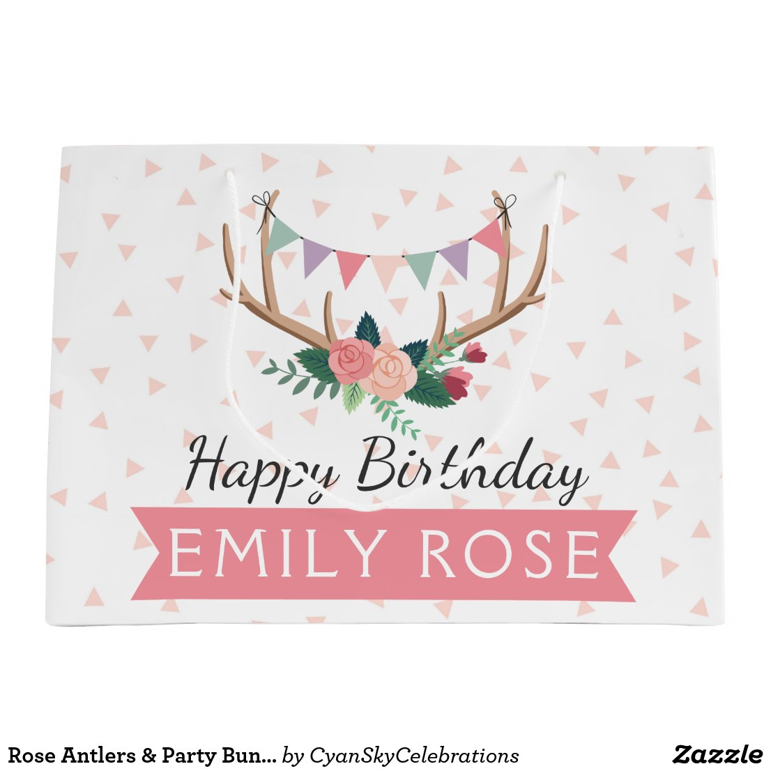 Rose Antlers & Party Bunting Girl's Birthday Gift Bag