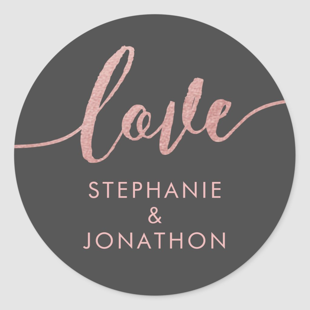 Rose Gold & Grey Love Script Names Favour Sticker