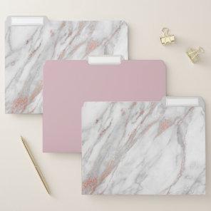 Rose Gold Marble File Folders Set of 3