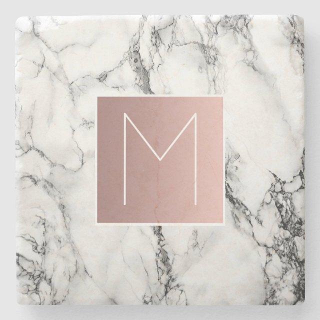 rose gold monogram coaster