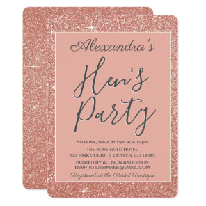 Rose Gold Sparkle Glitter Hen's Party Invitation