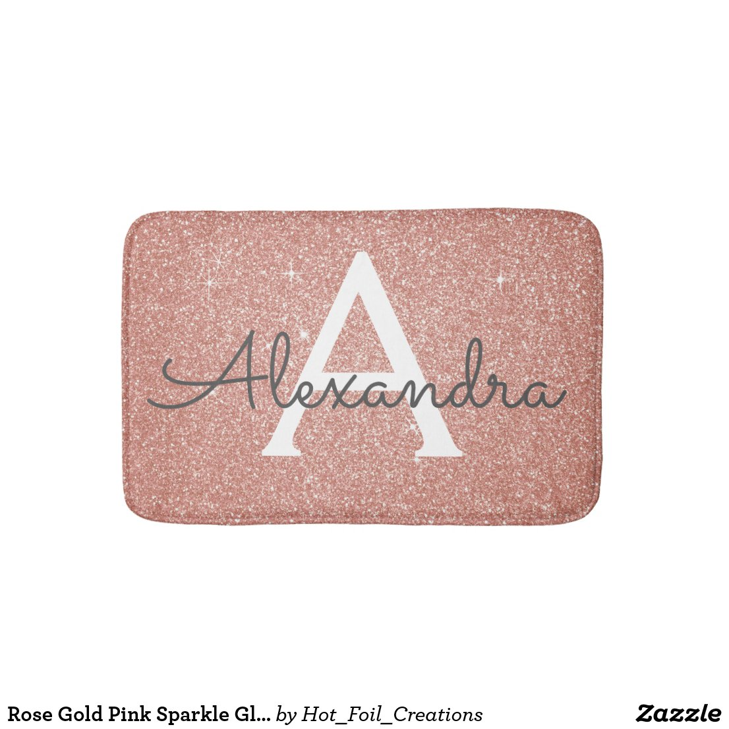 Glitter Monogram Bath Mat
