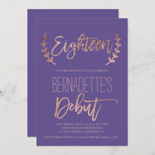 rose gold typography debut purple 18th birthday invitation