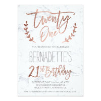 Rose gold typography feathers marble 21st Birthday Card