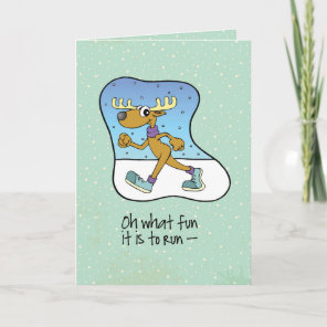 Running Exercise Reindeer Christmas Holiday Card