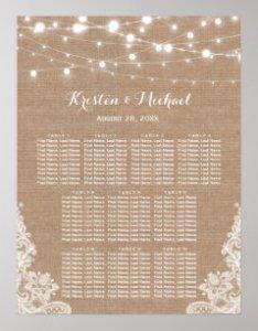 Rustic burlap string lights wedding seating chart also charts zazzle rh