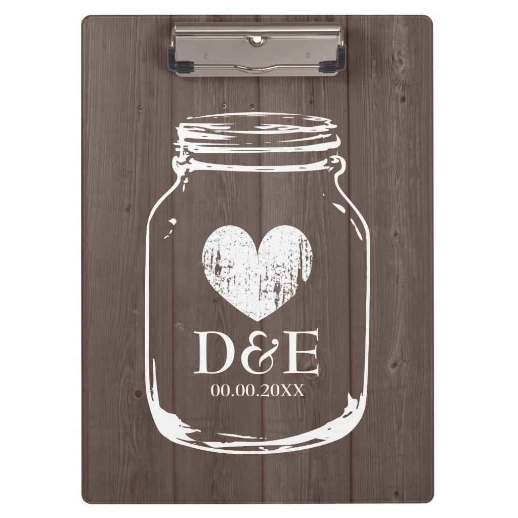 Rustic country chic mason jar wedding clipboard