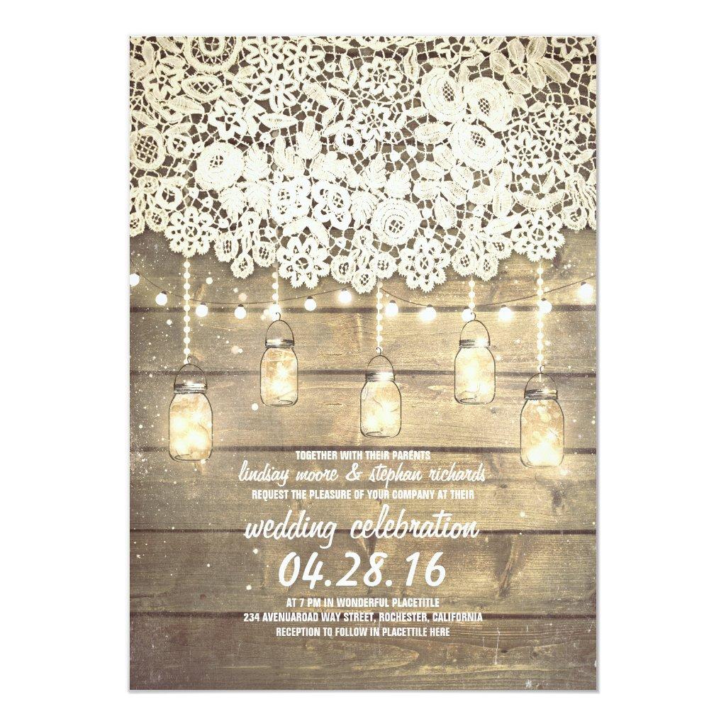 Rustic Country Mason Jars Lights Lace Wood Wedding