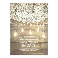 Rustic Country Mason Jars Lights Lace Wood Wedding Card