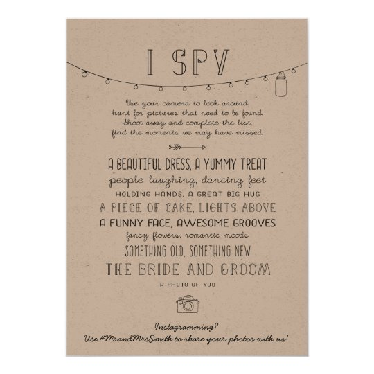 Rustic Editable Instagram Wedding I Spy Game Card Zazzle
