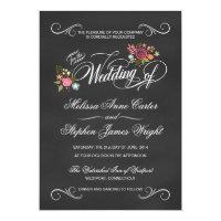 Rustic Floral Chalkboard Wedding Invitations