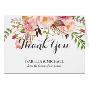 Rustic Floral Wedding Thank You
