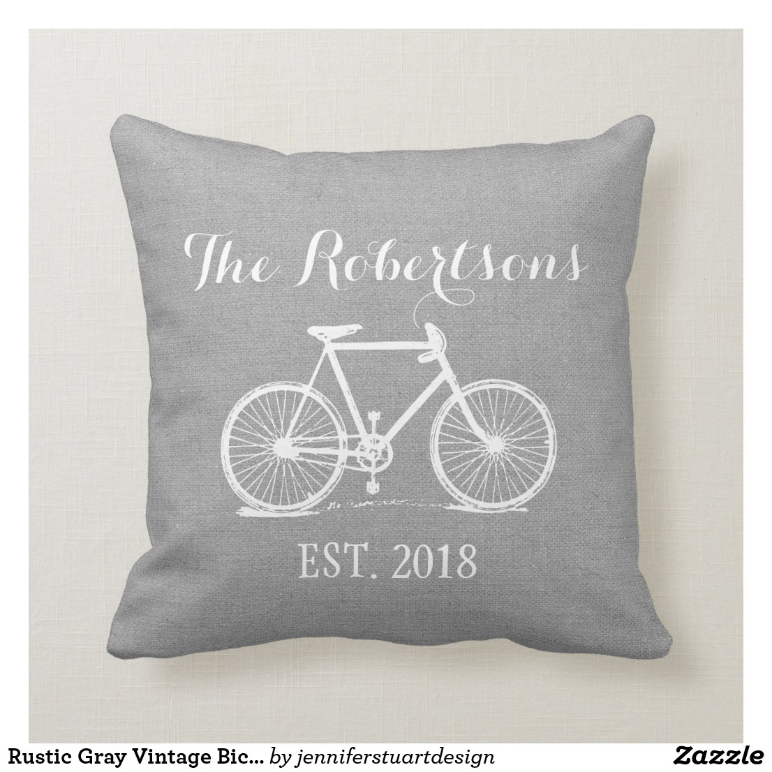 Rustic Grey Vintage Bicycle Wedding Monogram Cushion