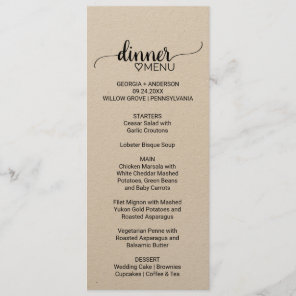 Rustic Kraft Paper Calligraphy Wedding Dinner Menu
