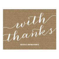 Rustic Kraft Paper Thank You Postcard