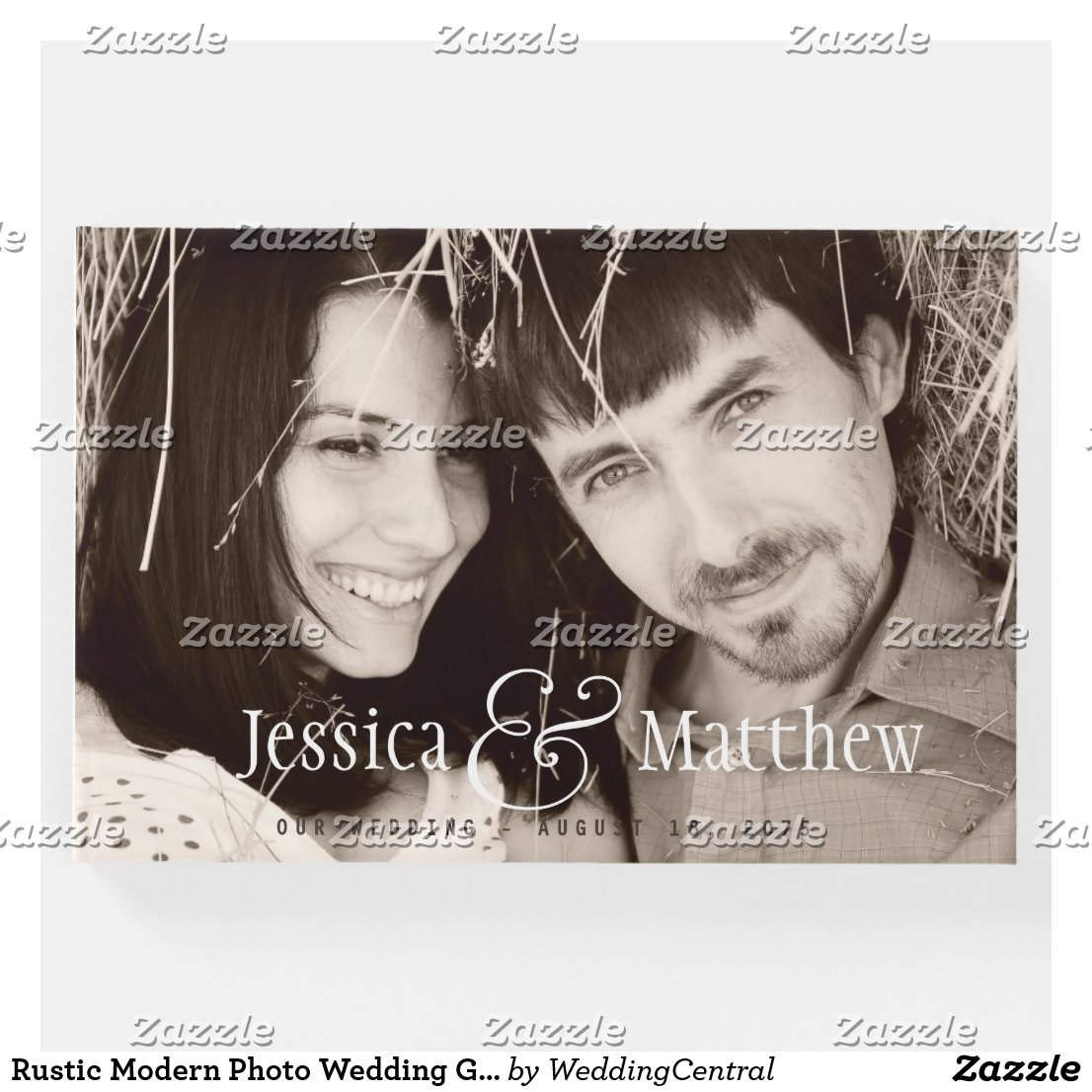 Rustic Modern Photo Wedding Guest Book