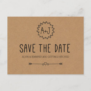 Rustic Save the Date / Kraft Paper Save the date Announcement Postcard