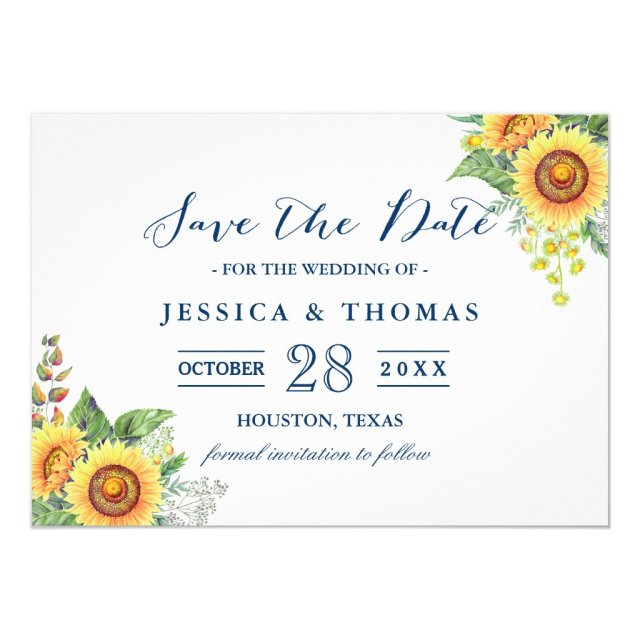Rustic Sunflowers Navy Blue Wedding Save the Date