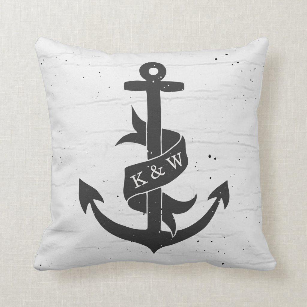 Rustic Vintage Anchor Monogram Pillow