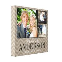 Rustic Wedding Monogram Photo Collage Canvas Print