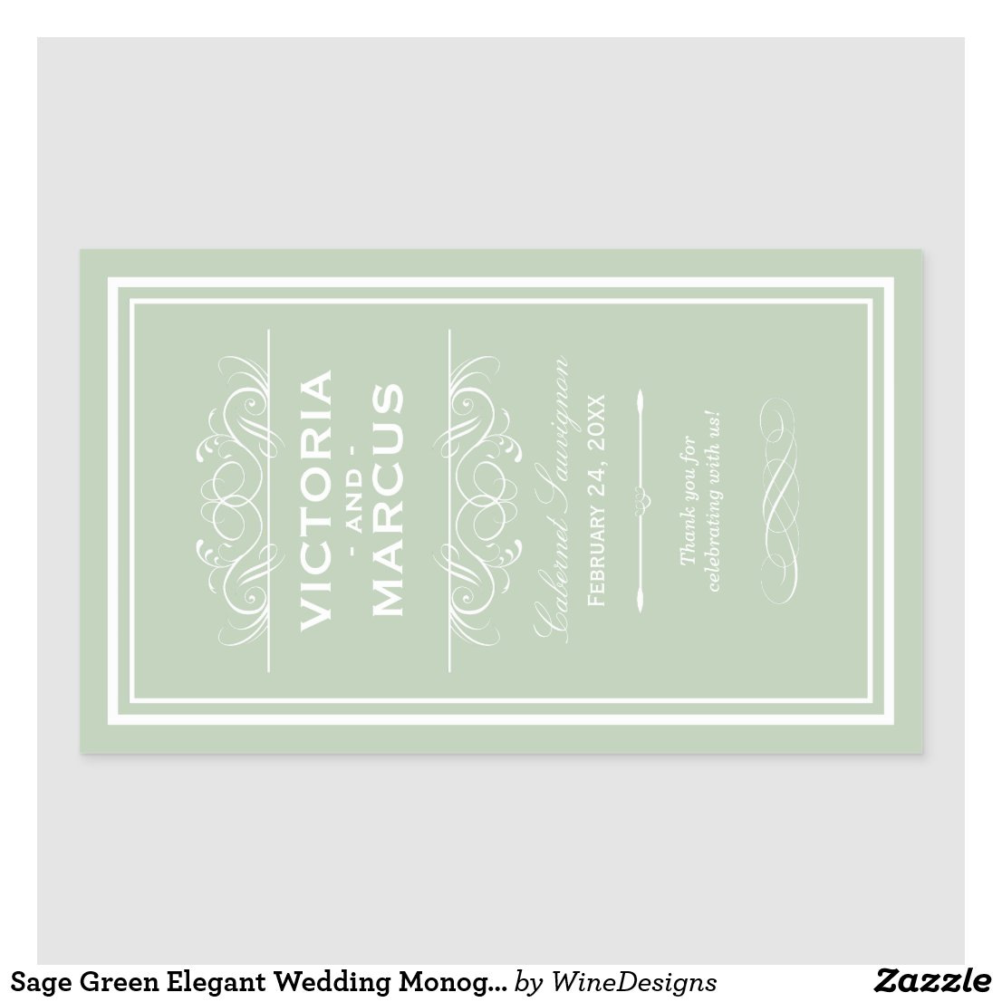 Sage Wedding Wine Bottle Monogram Favour Labels