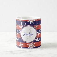 Sailor Nautical Monogram Coffee Mug