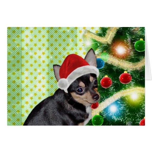 Santa Chihuahua Mickey Angel Merry Christmas Card Greeting